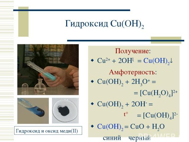 Гидроксид Cu(OH)2 Получение: Cu2+ + 2OH─ = Cu(OH)2 Амфотерность: Cu(OH)2 + 2H3O+ = = [Cu(H2O)4]2+ Cu(OH)2 + 2OH = = [Cu(OH)4]2 Cu(OH)2 = CuO + H2O синий черный t°