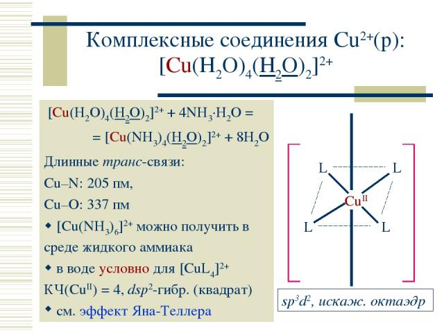 Комплексные соединения Cu2+(р): [Cu(H2O)4(H2O)2]2+ [Cu(H2O)4(H2O)2]2+ + 4NH3·H2O = = [Cu(NH3)4(H2O)2]2+ + 8H2O Длинные транс-связи: Cu–N: 205 пм, Cu–O: 337 пм [Cu(NH3)6]2+ можно получить в среде жидкого аммиака в воде условно для [CuL4]2+ КЧ(CuII) =…