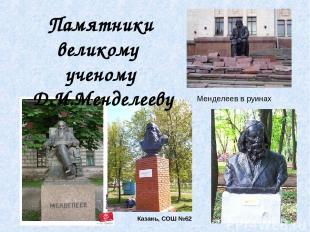 Менделеев в руинах Казань, СОШ №62 Памятники великому ученому Д.И.Менделееву