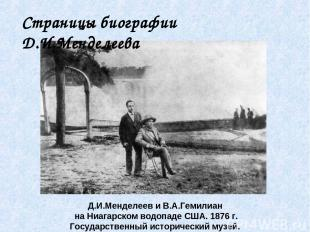 Д.И.Менделеев и В.А.Гемилиан на Ниагарском водопаде США. 1876 г. Государственный
