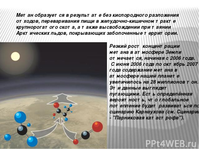 Резкий рост концентрации метана в атмосфере Земли отмечается, начиная с 2006 года. С июня 2006 года по октябрь 2007 года содержание метана в атмосфере нашей планете увеличилось на 28 миллионов тон. Эти данные выглядят пугающими. Есть определённая ве…