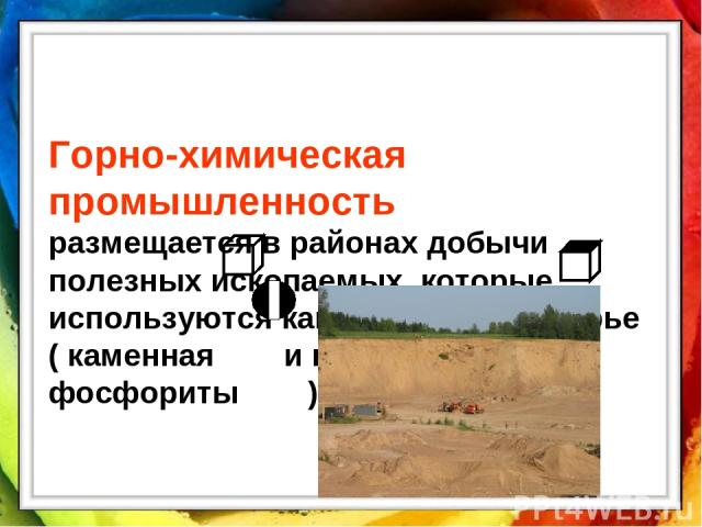 Горно-химическая промышленность размещается в районах добычи полезных ископаемых, которые используются как химическое сырье ( каменная и калийная соль фосфориты )