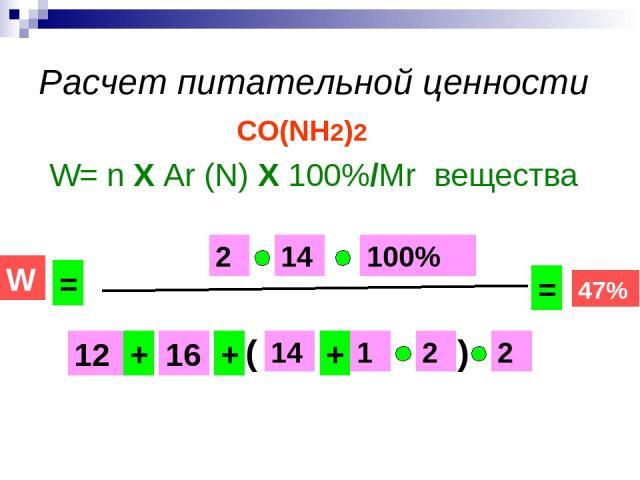 Расчет питательной ценности CO(NH2)2 W= n Х Ar (N) Х 100%/Mr вещества 14 16 12 1 2 2 100% 2 + + + W = 14 ( ) = 47%