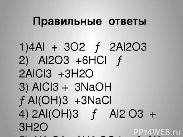 1)4Al + 3O2 → 2Al2O3 2) Al2O3 +6HCl → 2AlCl3 +3H2O 3) AlCl3 + 3NaOH →Al(OH)3 +3NaCl 4) 2Al(OH)3 → Al2 O3 + 3H2O 5) Al2 O3 +3H2 SO4 → Al2 (SO4 )3 + +3H2O Правильные ответы
