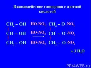 СН – ОН СН2 – СН2 – ОН ОН СН – О СН2 – СН2 – О О HO-NO2 HO-NO2 HO-NO2 -NO2 -NO2