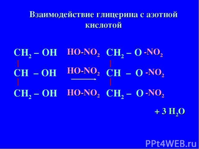 СН – ОН СН2 – СН2 – ОН ОН СН – О СН2 – СН2 – О О HO-NO2 HO-NO2 HO-NO2 -NO2 -NO2 -NO2 + 3 H2O Взаимодействие глицерина с азотной кислотой