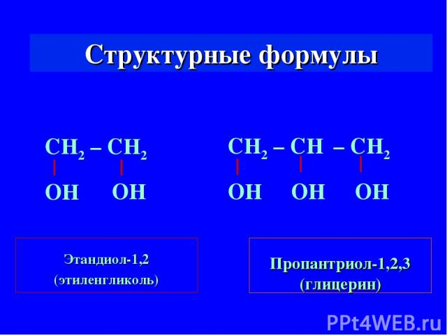 Структурные формулы Этандиол-1,2 (этиленгликоль) Пропантриол-1,2,3 (глицерин) СН2 – СН2 ОН ОН