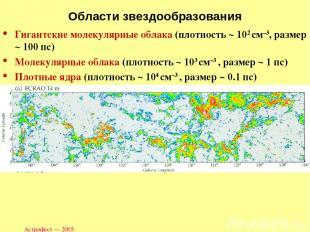 Астрофест — 2005 Области звездообразования Гигантские молекулярные облака (плотн