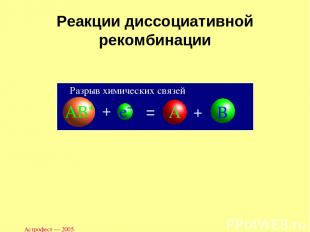 Астрофест — 2005 Реакции диссоциативной рекомбинации Разрыв химических связей Ас