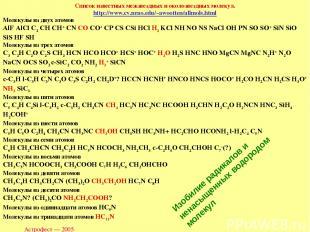 Астрофест — 2005 Список известных межзвездных и околозвездных молекул. http://ww