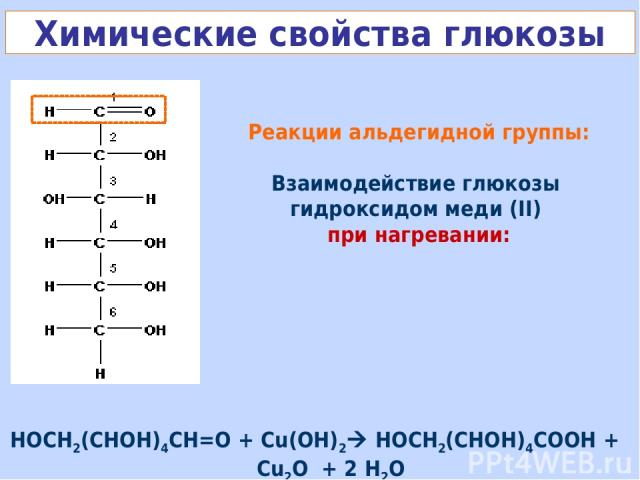 Реакции альдегидной группы: Взаимодействие глюкозы гидроксидом меди (II) при нагревании: Химические свойства глюкозы НОСН2(СНОН)4СН=О + Cu(OH)2 НОСН2(СНОН)4СOОН + Cu2O + 2 H2O