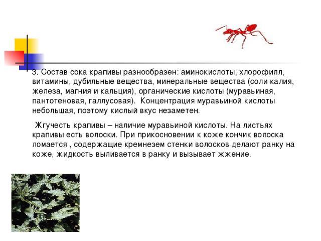 3. Состав сока крапивы разнообразен: аминокислоты, хлорофилл, витамины, дубильные вещества, минеральные вещества (соли калия, железа, магния и кальция), органические кислоты (муравьиная, пантотеновая, галлусовая). Концентрация муравьиной кислоты неб…