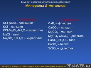 Минералы S-металлов I А подгруппа KCl·NaCl – сильвинит KCl – сильвин KCl·MgCl2·6