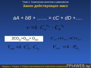 аА + bВ + …… = сС + dD +….  2CO(г)+О2(г)= О2(г) Закон действующих масс Модуль