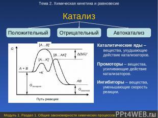 Катализ Положительный Отрицательный Автокатализ Промоторы – вещества, усиливающи