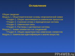 Оглавление Общие сведения Модуль 1. Общетеоретические основы неорганической хими