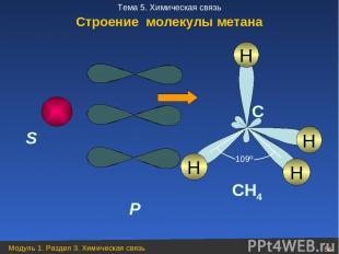 S P H C CH4 H H H 109º Строение молекулы метана Модуль 1. Раздел 3. Химическая с