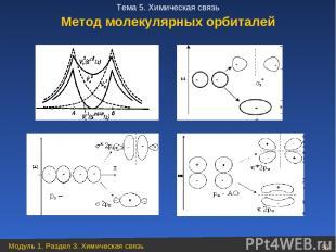 Метод молекулярных орбиталей Модуль 1. Раздел 3. Химическая связь * Тема 5. Хими