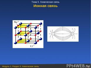 Ионная связь Модуль 1. Раздел 3. Химическая связь * Тема 5. Химическая связь