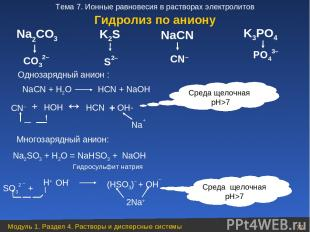 PO43– CO32– K2S S2– NaСN CN– K3PO4 Na2CO3 NaСN + Н2O НСN + NaOH CN– + НOН НСN +