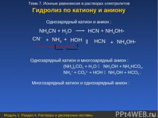 NН4СN + Н2O НСN + NН4OН CN– + НOН НСN + NН4OН Однозарядный катион и анион : NН4