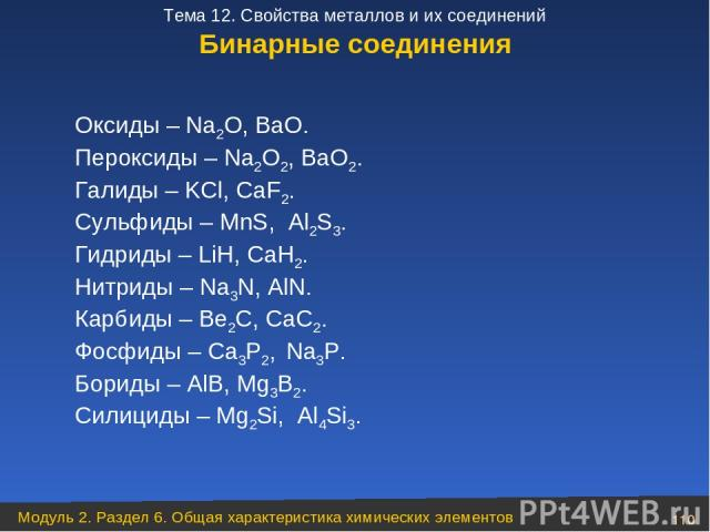 Бинарные соединения Оксиды – Na2O, BaO. Пероксиды – Na2O2, BaO2. Галиды – KCl, CaF2. Сульфиды – MnS, Al2S3. Гидриды – LiH, CaH2. Нитриды – Na3N, AlN. Карбиды – Be2C, CaC2. Фосфиды – Ca3P2, Na3P. Бориды – AlB, Mg3B2. Силициды – Mg2Si, Al4Si3. Модуль …