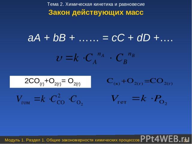 аА + bВ + …… = сС + dD +….  2CO(г)+О2(г)= О2(г) Закон действующих масс Модуль 1. Раздел 1. Общие закономерности химических процессов * Тема 2. Химическая кинетика и равновесие