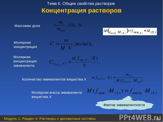 Массовая доля Молярная концентрация Количество эквивалентов вещества Х Молярная масса эквивалента вещества Х Фактор эквивалентности Концентрация растворов Молярная концентрация эквивалента Модуль 1. Раздел 4. Растворы и дисперсные системы * Тема 6. …