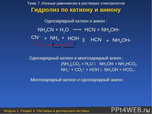 NН4СN + Н2O НСN + NН4OН CN– + НOН НСN + NН4OН Однозарядный катион и анион : NН4 + (NН4)2СО3 + Н2О NH4ОН + NH4НСО3, NH4+ + СО32 + HОН NH4OH + НСО3 . Однозарядный катион и многозарядный анион : Многозарядный катион и однозарядный анион : Zn(NO2) 2 + Н…