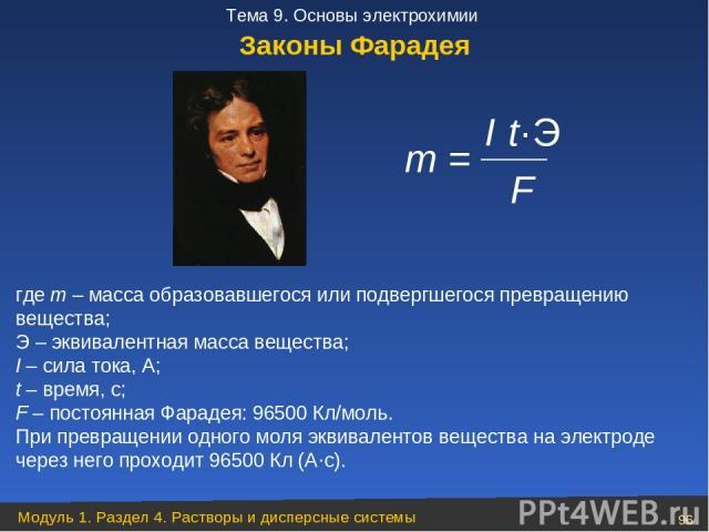 m = I·t·Э F где m – масса образовавшегося или подвергшегося превращению вещества; Э – эквивалентная масса вещества; I – сила тока, А; t – время, с; F – постоянная Фарадея: 96500 Кл/моль. При превращении одного моля эквивалентов вещества на электроде…