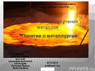 Общие способы получения металлов Понятие о металлургии Ленинградская область, Во