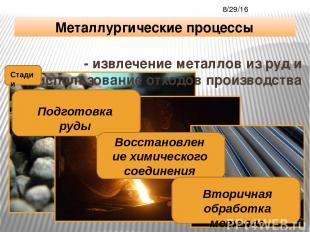 - извлечение металлов из руд и использование отходов производства Металлургическ