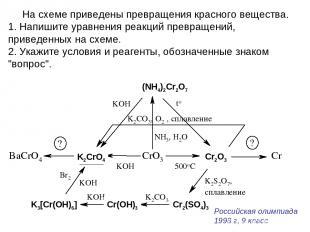 На схеме приведены превращения красного вещества. Напишите уравнения реакций пре