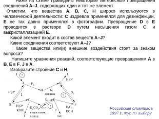 Ниже на схеме приведены некоторые интересные превращения соединений A–J, содержа