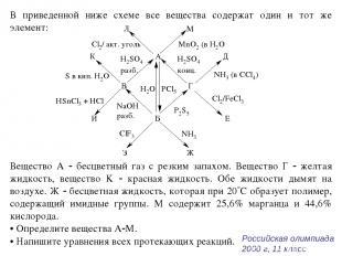 В приведенной ниже схеме все вещества содержат один и тот же элемент: Вещество А