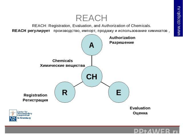 REACH REACH: Registration, Evaluation, and Authorization of Chemicals. REACH регулирует производство, импорт, продажу и использование химикатов , Chemicals Химические вещества Authorization Разрешение Evaluation Оценка Registration Регистрация www.c…