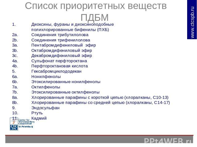 Список приоритетных веществ ПДБМ Диоксины, фураны и диоксиноподобные полихлорированные бифенилы (ПХБ) 2a. Соединения трибутилолова 2b. Соединения трифенилолова 3a. Пентабромдифениловый эфир 3b. Октабромдифениловый эфир 3c. Декабромдифениловый эфир 4…