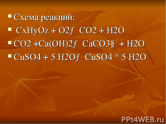 Схема реакций: CxHyOz + O2→ CO2 + H2O CO2 +Сa(OH)2→ СaCO3↓ + H2O CuSO4 + 5 H2O→ CuSO4 * 5 H2O