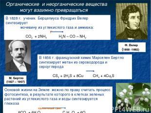 Органические и неорганические вещества могут взаимно превращаться В 1828 г. учен