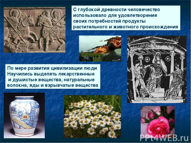 С глубокой древности человечество использовало для удовлетворения своих потребностей продукты растительного и животного происхождения По мере развития цивилизации люди Научились выделять лекарственные и душистые вещества, натуральные волокна, яды и …