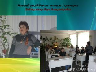 Научный руководитель: учитель I категории Бабакаленко Вера Александровна