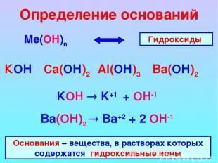 Определение оснований Ме(ОН)n КОН Ca(ОН)2 Al(ОН)3 Ba(ОН)2 Гидроксиды KOH K+1 + O