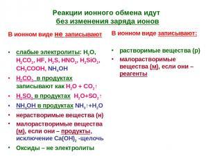 Реакции ионного обмена идут без изменения заряда ионов В ионном виде не записыва