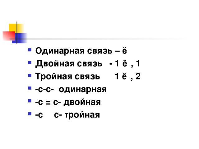 Одинарная связь – ơ Двойная связь - 1 ơ , 1 ɲ Тройная связь 1 ơ , 2 ɲ -с-с- одинарная -с = с- двойная -с Ξ с- тройная