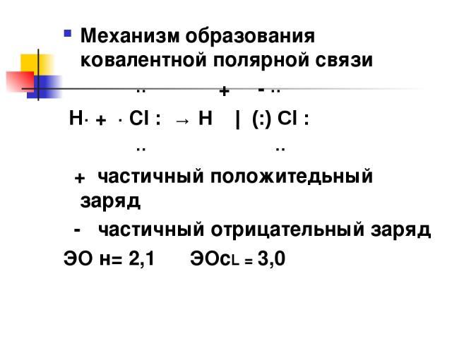 Механизм образования ковалентной полярной связи ·· δ+ δ- ·· Н· + · Cl : → Н   (:) Cl : ·· ·· δ+ частичный положитедьный заряд δ- частичный отрицательный заряд ЭО н= 2,1 ЭОсL = 3,0