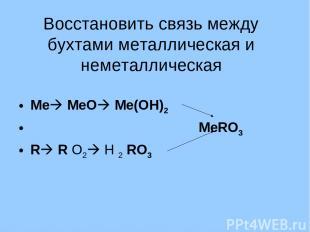 Восстановить связь между бухтами металлическая и неметаллическая Ме МеО Ме(ОН)2