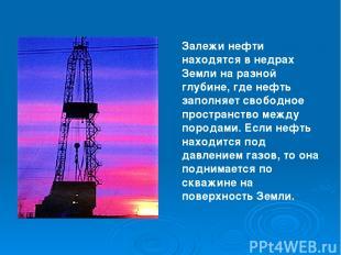 Залежи нефти находятся в недрах Земли на разной глубине, где нефть заполняет сво