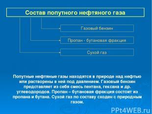 Состав попутного нефтяного газа Газовый бензин Пропан - бутановая фракция Сухой