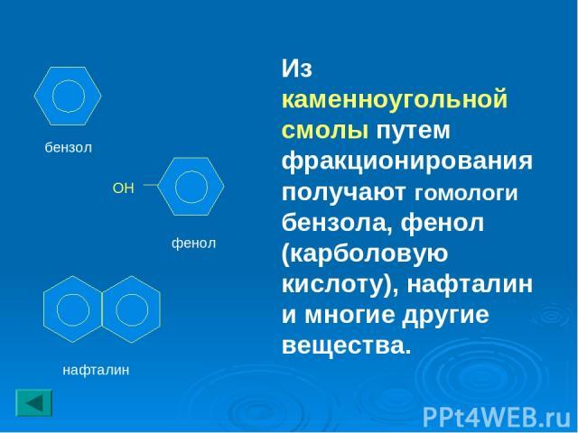 Из каменноугольной смолы путем фракционирования получают гомологи бензола, фенол (карболовую кислоту), нафталин и многие другие вещества. ОН бензол фенол нафталин