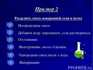 Пример 2 Разделить смесь поваренной соли и песка Неоднородная смесь Добавить вод